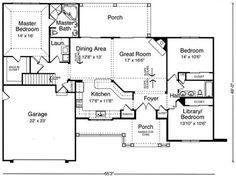 Plan #17716: 3 bedroom, 3 bath house plan with 2-car garage. Craftsman house style, 1 story | HousePlansPlus.com
