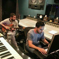 Brad Delson and Mike Shinoda studio time