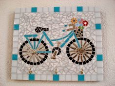 Porta Chaves - My bike Mosaic Tray, Mosaic Wall Art, Mirror Mosaic, Mosaic Glass, Mosaic Tiles, Glass Art, Mosaics, Owl Mosaic, Mosaic Pictures