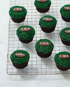 These chocolate-and-mint cupcakes are a festive -- and sweetly delicious -- way to kick off football season.