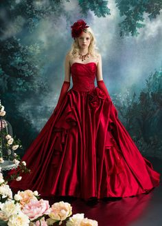 off shoulder red ball gown Red Wedding Dresses, Wedding Gowns, Moda Lolita, Fairytale Dress, Red Gowns, Fantasy Dress, Ball Dresses, Beautiful Gowns, Quinceanera