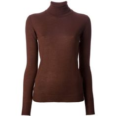 ROBERTO COLLINA roll-neck jumper ($275) ❤ liked on Polyvore featuring tops, sweaters, shirts, turtleneck, blouses, long sleeve tops, turtle neck top, turtleneck sweater, brown shirts and turtleneck long sleeve shirt