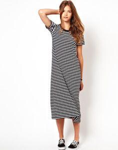 White Chocoolate Stripe T-Shirt Dress maternity