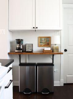 Kitchen Butcher Block Shelf via Trashcans. Closet Storage, Storage Shelves, Shelf, Kitchen Cart, Kitchen Decor, Kitchen Ideas, Ikea Corner Desk, Ikea Cart, Touch Up Paint