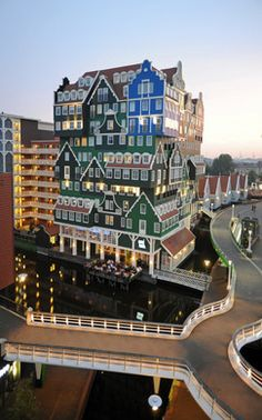 Colorful and chaotic stacked hotel in North Holland