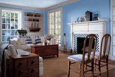 Wall Colors We Love for the Living Room: A Gentle, Watery Blue Living Room Blue Wall Colors, Room Wall Colors, Paint Colors For Living Room, Sky Blue Paint, Blue Painted Walls, Room Paint Designs, Living Room Designs, Blue Bedroom Walls, Blue Walls