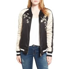 Women's Pam & Gela Embellished Satin Bomber Jacket ($295) ❤ liked on Polyvore featuring outerwear, jackets, satin bomber jacket, bomber style jacket, bomber jackets, satin jackets and embellished jacket