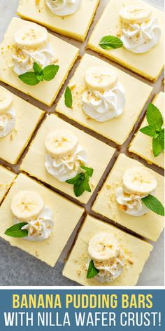 These sweet and creamy No-Bake Banana Pudding Bars have a buttery Nilla Wafer crust, just like real banana pudding! Perfect dessert for a party! Great Desserts, No Bake Desserts, Dessert Recipes, Nilla, Baking Recipes, Keto Recipes, No Bake Banana Pudding, Challenge Butter, Baked Banana