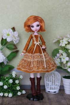 Mustard Dress with laces for  Monster High / EverAfterHigh, Blythe, Azone pure neemo L/M/S/,  Obitsu 24/25, Momoko doll  1/6 size