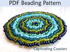Beading Patterns, Beaded Coasters, Seed Bead Coaster, Home