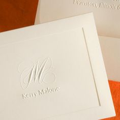 embossed+note+cards+monogrammed | ... Note Cards / Personalized Capital Personalized Note Set by Embossed