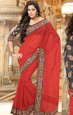 Picture of Stunning Red Color Tissue Designer Wedding Sarees Online