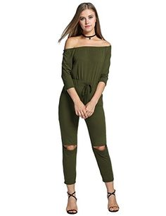 e62f562abb0 Fashion Women s Jumpsuit Off Shoulder Open Knee Slash Neck Sleeve Pocket  Casual Clubwear Solid Slim Female Rompers. My Dream Clothing