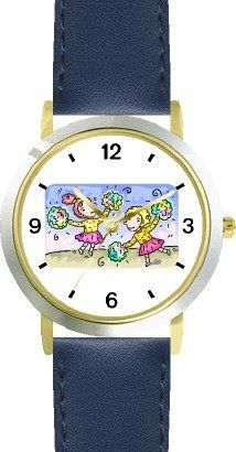 Cheerleaders or Cheer Leaders with Pompoms Cheerleader Theme - WATCHBUDDY® DELUXE TWO-TONE THEME WATCH - Arabic Numbers - Blue Leather Strap-Children's Size-Small ( Boy's Size & Girl's Size ) WatchBuddy. $49.95. Save 38% Off!