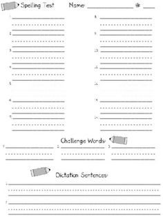 free spelling test templates for reading street - possibly other grades, too