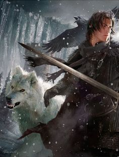 Jon Snow & Ghost, por Michael Komarck.