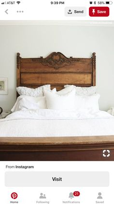 Gorgeous antique bed frame with white linens. Gorgeous antique bed frame with white linens. The post Gorgeous antique bed frame with white linens. appeared first on Wood Ideas. Antique Beds, Antique Bedroom Decor, Antique Headboard, Antique Bedrooms, Wood Headboard, Bedroom Vintage, Lewis Furniture, Antique Bedroom Furniture, Furniture Design