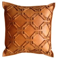 leather geometric cut pillow fabric manipulation by livandwork