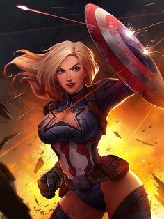 Captain America by Hachi Lee : ImaginaryMarvel Marvel Women, Marvel Girls, Comics Girls, Marvel Art, Marvel Dc Comics, Marvel Heroes, Anime Comics, Marvel Avengers, Captain Marvel