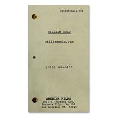 Screenplay style card on aged paper.  For screenwriters, directors, filmmakers, writers and artists.  Premium or card stock recommended for best look and feel.