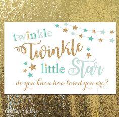 SALE Twinkle Twinkle Little Star Backdrop Gold Pink Aqua