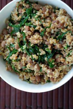 Smokey one pot beans and bulgur with kale