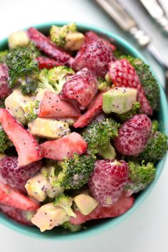 Super easy creamy broccoli salad with berries and avocado!