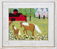 Mare and Foal in Spring Meadow by Maud Lewis