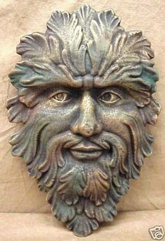 Gothic Green Man Leaf Face Mask Wall Decor Sculpture | eBay