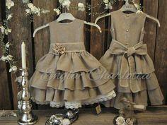 Rustic flower girl dress. Dark beige country by englaCharlottaShop, €49.00