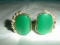 vintage earrings green lucite by qualityvintagejewels on Etsy, $14.00