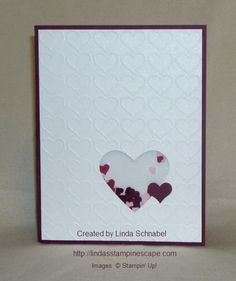 SHAKER CARD using Stampin' Up! Happy Heart Textured Folder, Confetti Hearts Border Punch, Crazy About You Stamp set and more! Full details and a pic of the inside of the card can be found on my blog: http://lindasstampinescape.com