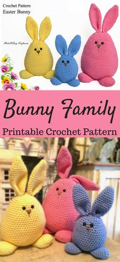 Amigurumi Bunny Family Crochet Pattern Printable PDF | Crochet Rabbit Family for Easter decor #ad #easter #easterbunny #eastercrafts #crochet #crocheting #crochetpattern #pattern #patternsforcrochet #amigurumi #amigurumidoll #amigurumitoy #amigurumipattern #amigurumiaddict #printable #print #download #downloadandprint #pdf