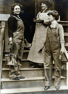 """Loosely translated from the Dutch: Three """"eccentric"""" women wearing male clothes and working in male occupations, 1916."""