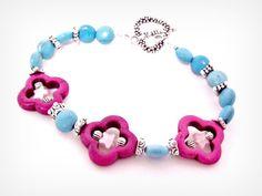 Berry Howlite & Aqua Magnesite Bracelet by RomanticThoughts, $24.95