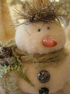 snowman | Vintage buttons , clay nose , embellished & dusted… | Flickr