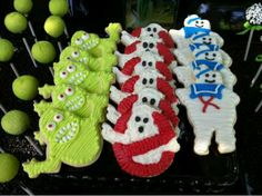 Tori and Dean Throw Liam an Outrageous Ghost Busters boy Birthday Party here are the cookies. Check out the website to see Ghostbusters Theme, Ghostbusters Birthday Party, 4th Birthday, Birthday Party Themes, Birthday Ideas, Birthday Cookies, Teddy Bear Birthday, Party Treats, Childrens Party