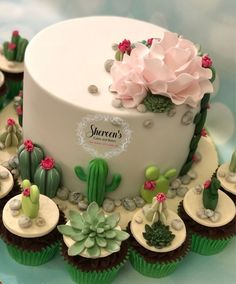 Cactus cacti birthday cake with flowers and roses all handmade with fondant modelling paste