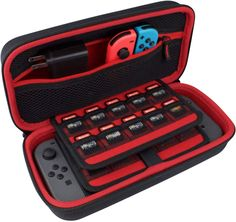 Protective Travel Case Fits Adapter/Charger and Includes 19 Game Card Storage, Hard Shell Cover, Accessories Pouch, Carry Handle - Red/Black Nintendo Switch Zelda, Nintendo 3ds, Nintendo Consoles, Carte Pokemon Rare, Teen Game Rooms, Nintendo Switch Accessories, Mundo Dos Games, Game Storage, Just Dream
