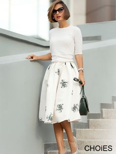 Black Rose Print Flare Skirt In Pink | Choies