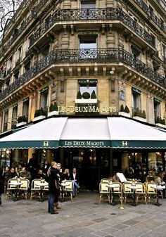 Les Deux Magots, Paris: The name originally belonged to a fabric and novelty shop at nearby 23 Rue de Buci. The shop sold silk lingerie and took its name from a popular play of the moment entitled Les Deux Magots de la Chine (Two Figurines from China). Oh The Places You'll Go, Places To Travel, Places To Visit, Paris Travel, France Travel, Paris France, Paris Paris, France Cafe, Paris Nice