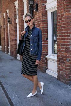 Striped Sheath Dress and Jean Jacket
