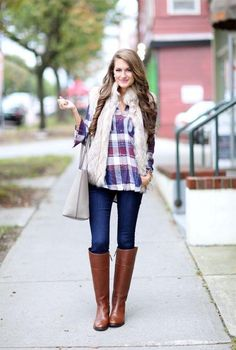 white fur vest with plaid flannel., Fur vest street style for woman http://www.justtrendygirls.com/fur-vest-street-style-for-woman/
