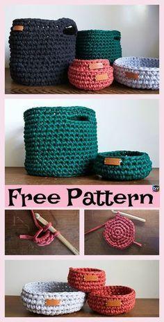 Crochet Diy 8 Most Adorable Crochet Basket Free Patterns Crochet Diy, Crochet Storage, Crochet Home, Crochet Gifts, Crochet Bags, Crochet Pillow, Crochet Ideas, Crochet Basket Pattern, Knit Basket