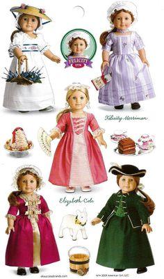 American Girl Doll's Felicity and Elizabeth. Felicity American Girl Doll, My American Girl, American Girl Crafts, American Doll Clothes, Ag Doll Clothes, Doll Clothes Patterns, Doll Patterns, American Dolls, America Girl