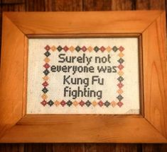 Surely not everyone was Kung Fu fighting. Funny cross stitch. Pattern available on Etsy!