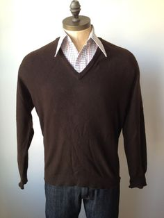 Vintage MENS Lyle & Scott dark brown cashmere vneck by pandaJpanda, $28.00