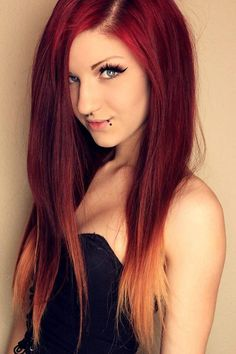 Red ombre hair color to blonde, Amazing DIY red hair dye choice shown by our girl~