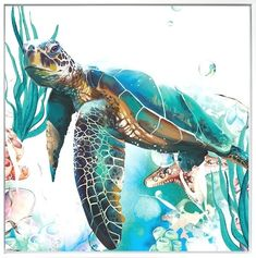 Frames For Canvas Paintings, Animal Paintings, Canvas Art, Framed Canvas, Sea Turtle Painting, Sea Turtle Art, Sea Turtles, Sea Life Art, Sea Art