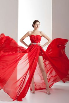 Cool Style Ruching Chiffon Split Front Sweetheart Red Prom Dresses £96
